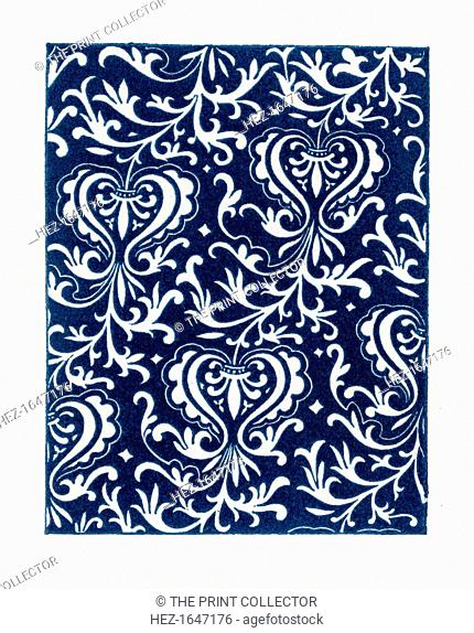 A fabric pattern., 1843. From Dresses and Decorations of the Middle Ages from the Seventh to the Seventeenth Centuries, by Henry Shaw (London, 1843)