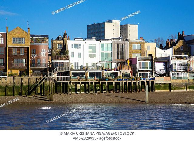 Houses on the river Thames in London
