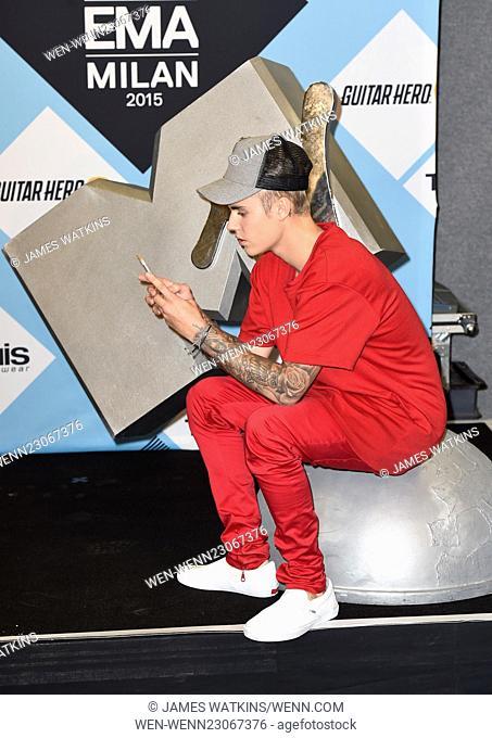 The 2015 MTV EMAs (European Music Awards) held at the Mediolanum Forum in Milan - Press Room Featuring: Justin Bieber Where: Milan