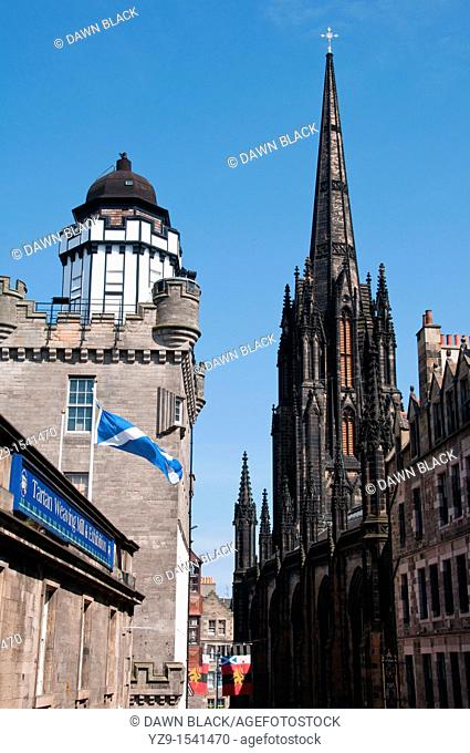 Castlehill, The Royal Mile, Edinburgh with Camera Obscura and Tolbooth Church The former 19th century Tolbooth Church, situated on Castlehill on the approaches...