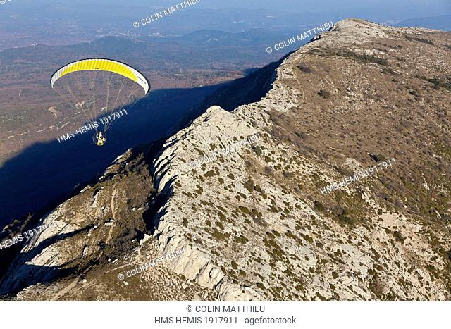 France, Bouches du Rhone, the Sainte Baume massif, paraglider or paramotor engine (aerial view)