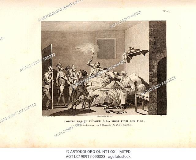Loiserolles devotes himself to death for his son, July 26, 1794, or 8 Thermidor, An 2. of the Republic, Jean Simon Aved de Loizerolles sacrifices himself for...