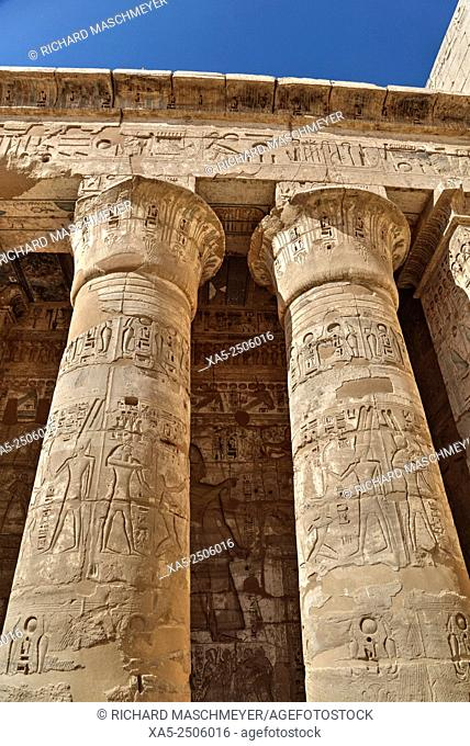 Columns of the Second Court, Medinet Habu (Mortuary Temple of Ramses III), West Bank, Luxor, Egypt