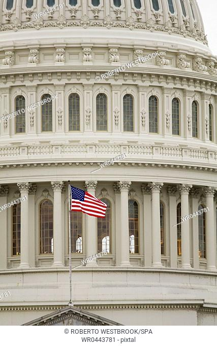 American Flag on the Capitol Building