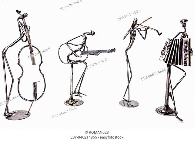 Figures of music performers made with welded black metal wire. Guitar, contrabass, accordion and violin are playing together. Living lines