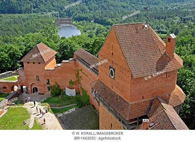 Yard of Turaida Castle, bishop's castle, Gauja river, Turaida, Latvia, Baltic States, Northern Europe
