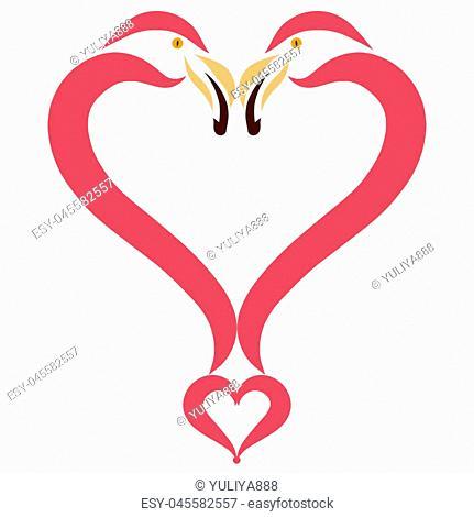 Heart of two birds in love, flamingo
