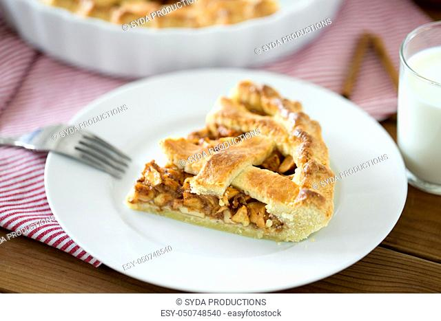 close up of apple pie and fork on plate