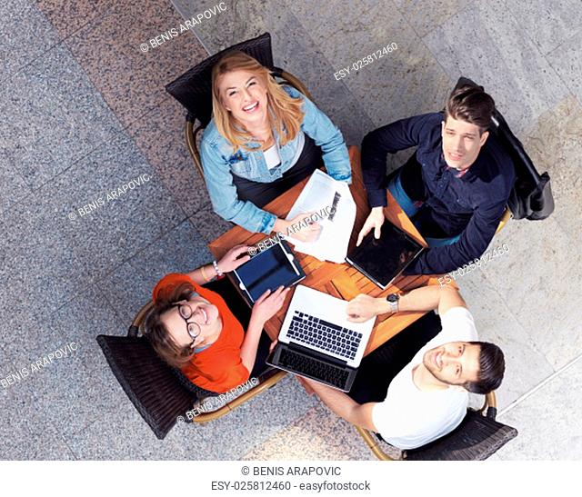 students group working on school project together at modern university, top view teamwork business concept