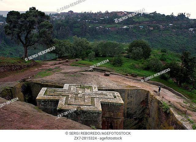 Lalibela, Amhara region, Ethiopia. Church of San George in Lalibela. The church of St. George is the principal of the eleven churches excavated in the rock of...