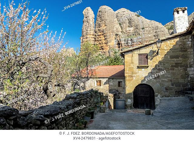 Aguero Village with rock formation background, Huesca, Aragon, Spain