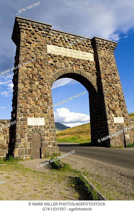 Roosevelt Arch by Gardiner Montana USA by Yellowstone National Park north Entrance
