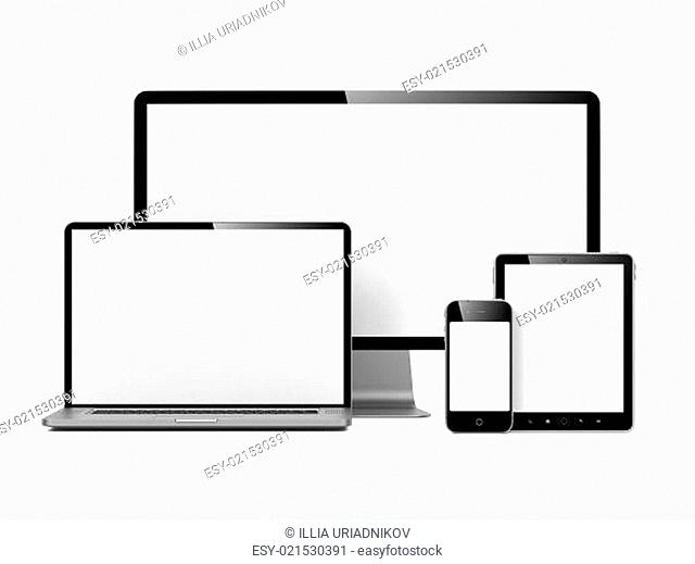 Modern Electronic Devices Isolated on White