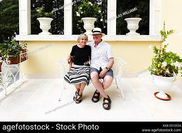 A couple on a terrace in Martina Franca, Puglia, Italy