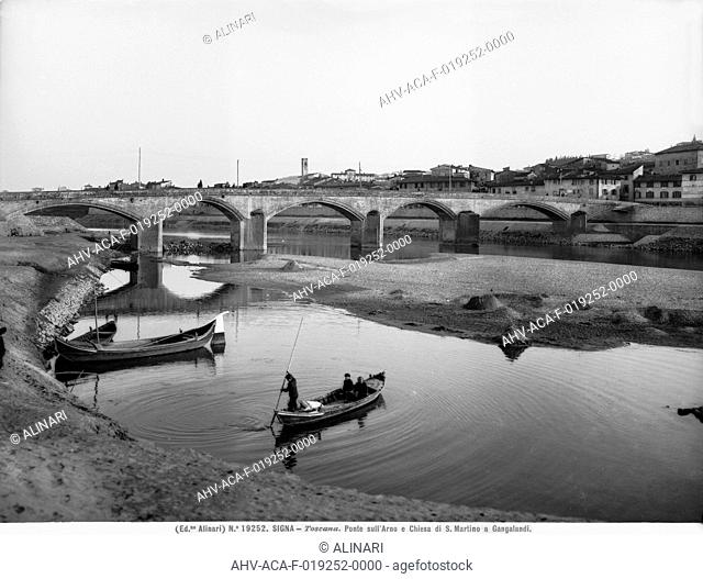 Panoramic view of the Ponte a Signa with the bridge over the Arno River, in the background the parish church of S.Martino in Gangalandi is visible