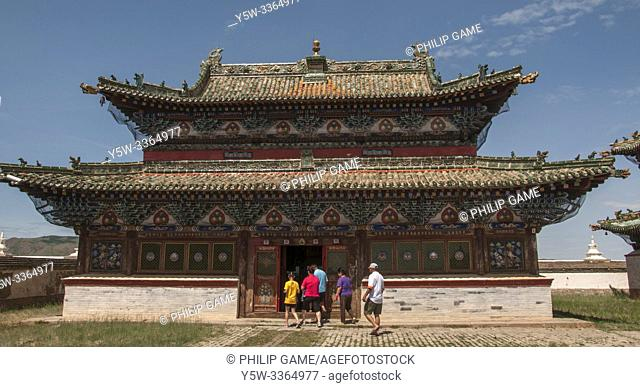 Tourists entering the 16th-century Erdene Zuu Khiid (Hundred Treasures Monastery), Mongolia's first Buddhist monastery in the modern-day town of Kharkhorin