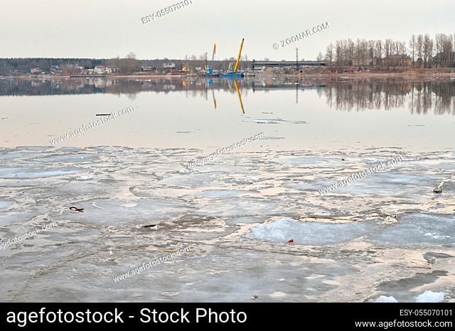 View of Neva River at cloud spring evening, Russia