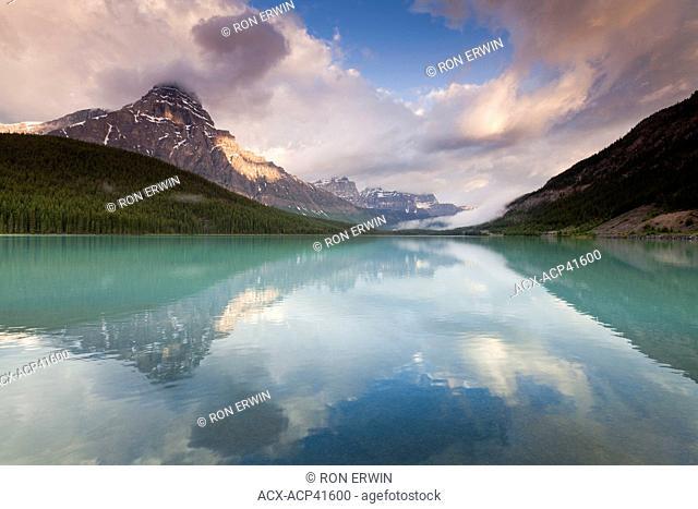 Mount Chephren reflected in lower Waterfowl Lake, Banff National Park, Alberta, Canada