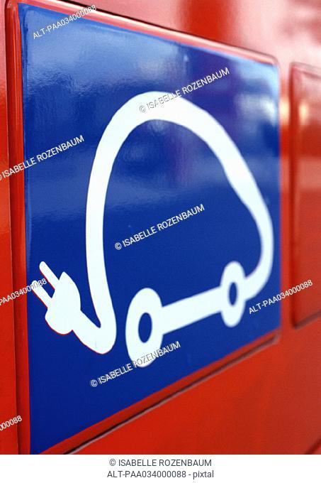Electric car symbol, close-up