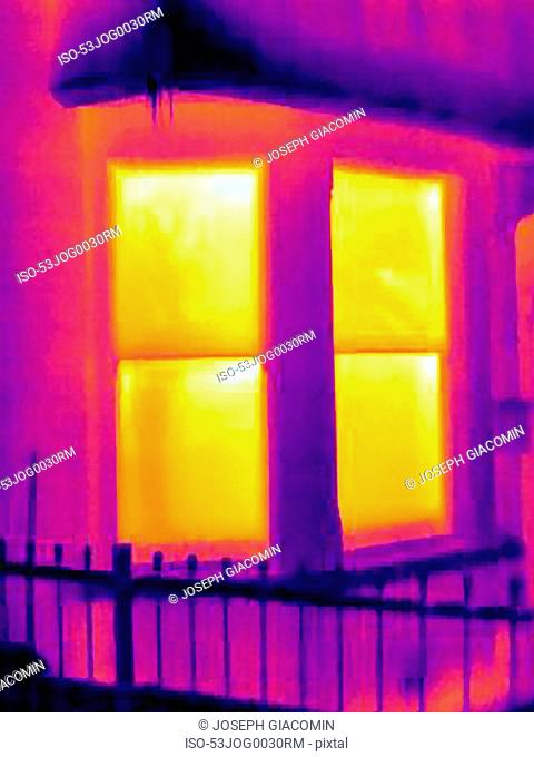 Thermal image of windows of house