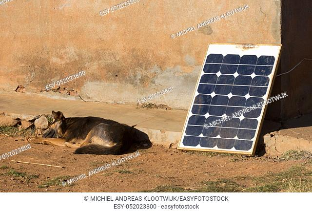Small solar panel in Madagascar, green energy