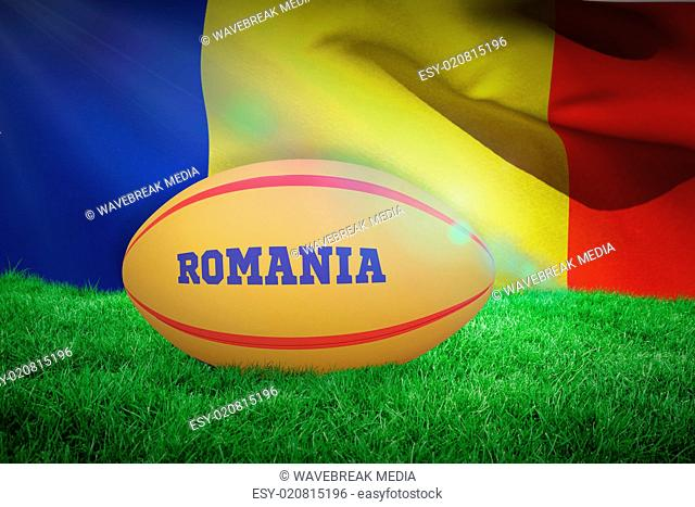 Composite image of romania rugby ball