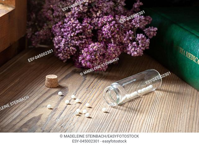 A bottle of homeopathic pills with dried herbs and a materia medica, i. e. a list of remedies and their therapeutic properties
