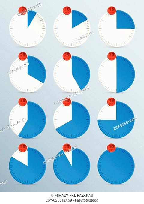Countdown timer set of twelve in blue with red counter