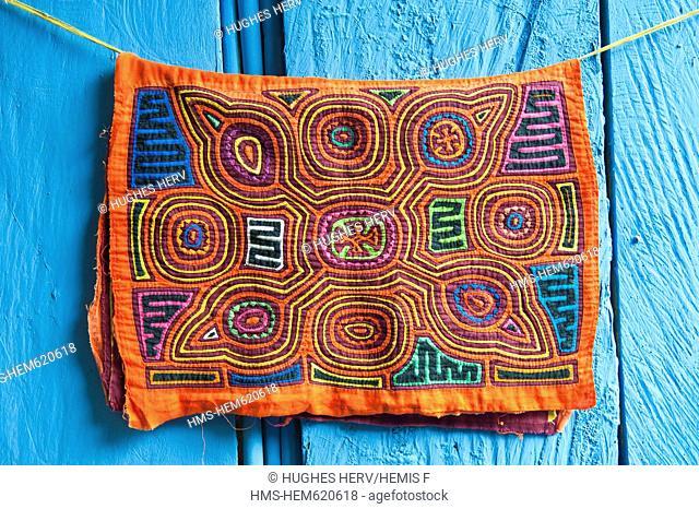 Panama, San Blas archipelago, Kuna Yala autonomous territory, Carti island, molas embroidered textiles by the Kuna indian