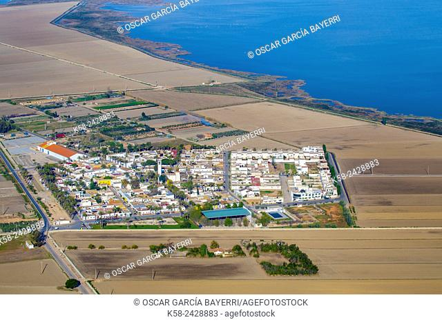 Aerial view of the town of Poblenou del Delta in the Ebro Delta. Catalonia, Spain