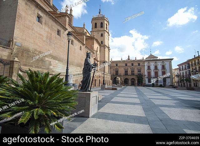 Lorca Murcia Spain on September 6, 2020 historic old city in summer St Patrick San Patricio collegiate church at Spain square
