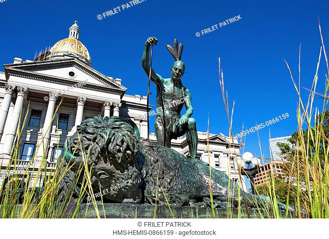 United States, Colorado, Denver, the Capitol was built in 1890, statue of indian and dying buffalo