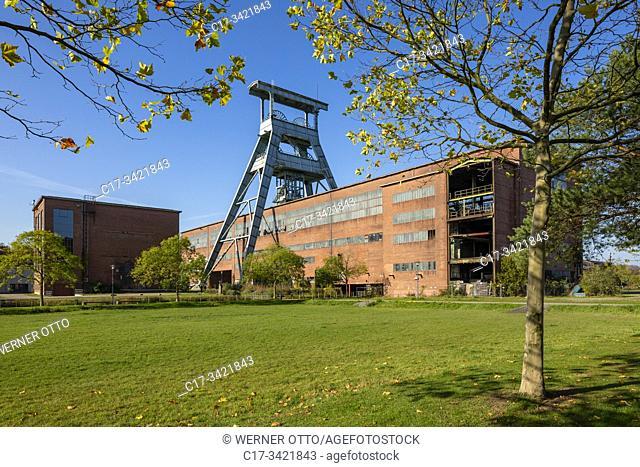 Herten, D-Herten, Ruhr area, Westphalia, North Rhine-Westphalia, NRW, hard coal mining, coal-pit Ewald 1/2/7, powerhouse, shaft 7, pit tower, magazine, depot