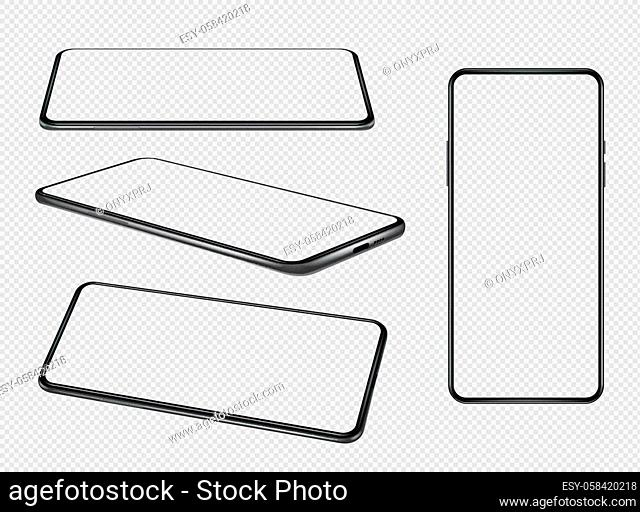 Smartphones mockup. Mobile phones empty screens with place for personal info blank design present various side decent vector smartphones collection
