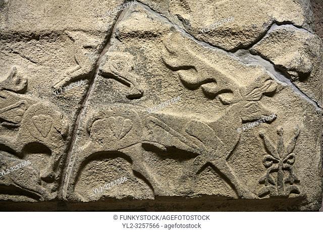 Alaca Hoyuk Hittite monumental relief sculpted orthostat stone panel. Andesite, Alaca, Corum, 1399-1301 B. C. Anatolian Civilizations Museum, Ankara, Turkey