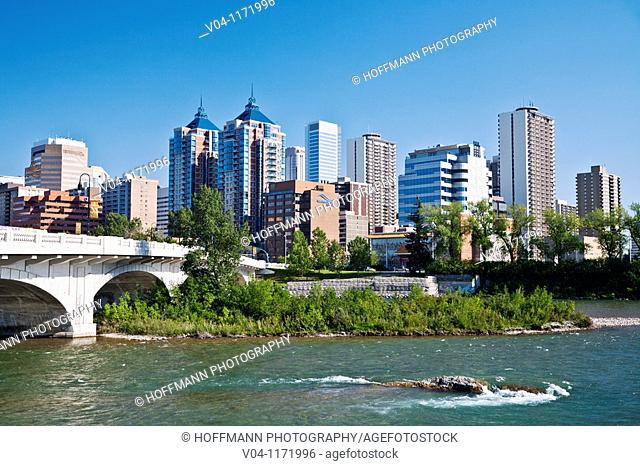 Bow River and the skyline of Calgary in Alberta, Canada