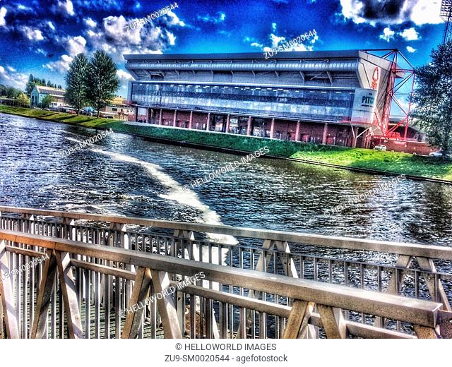 Nottingham Forest Football club stand by the river Trent, Nottingham, Nottinghamshire, east Midlands, England