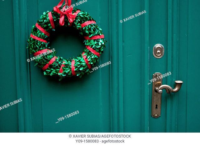 Christmas wreath, Stockholm, Sweden