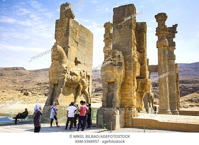 The Gate of All Nations or Gate of Xerxes. Persepolis ancient city ruins. Iran, Asia