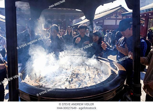 Japan, Hoshu, Tokyo, Asakusa, Asakusa Kannon Temple aka Sensoji, Giant Incense Burner