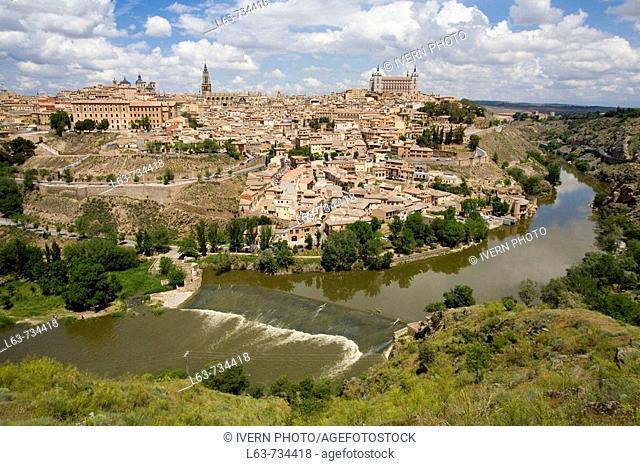 View over Toledo and Tajo River. Declared World Heritage city for the UNESCO. Castilla-La Mancha, Spain
