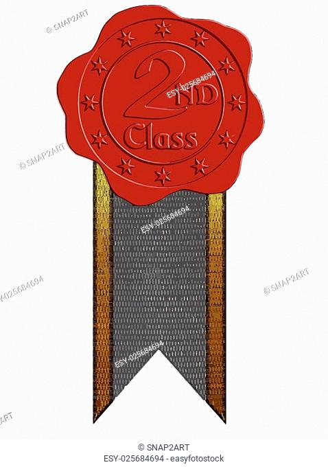 Vector Second Class Red Wax Seal with Stars and Ribbon