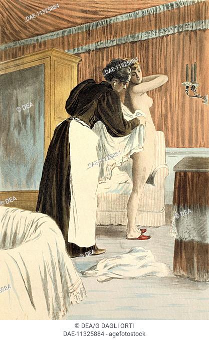 Toilette in the morning, 1894, from La Femme a Paris by Octave Uzanne, engraving by Frederic Masse, painted by Pierre Vidal