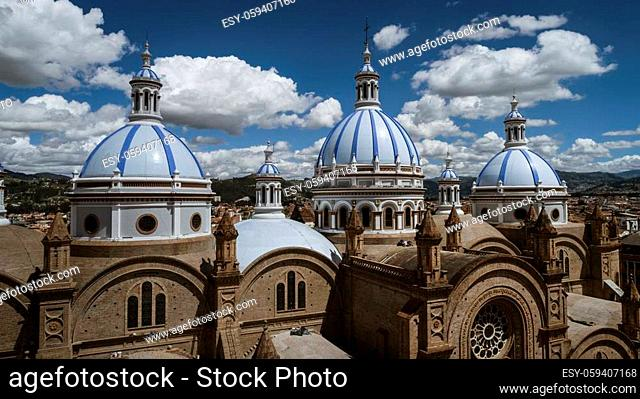 Aeiral Drone View of Dome of New Cathedral in Cuenca Ecuador as Seen From the Seminary