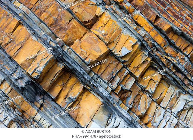 Rock strata in the cliffs at Sandymouth, Cornwall, England, United Kingdom, Europe