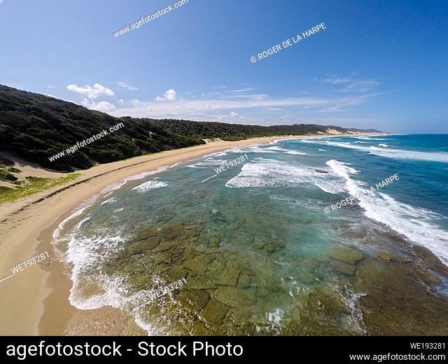 Aerial view of Maputaland coastline at Mabibi. iSimangaliso Wetland Park (Greater St Lucia Wetland Park). KwaZulu Natal. South Africa
