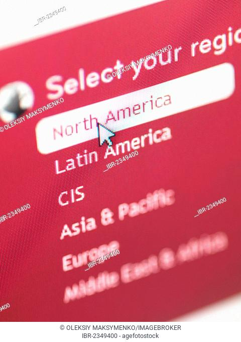 E-commerce web site region selection menu, selecting North American region