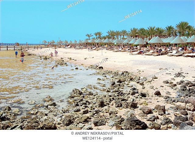 Low tide on coral beach, Sharm el-Sheikh, Sinai Peninsula, Egypt