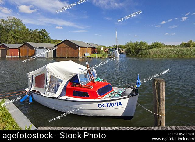 Wooden boat houses on the banks of the Plauer See at Plau am See, town in the Ludwigslust-Parchim district, Mecklenburg-Western Pomerania, Germany