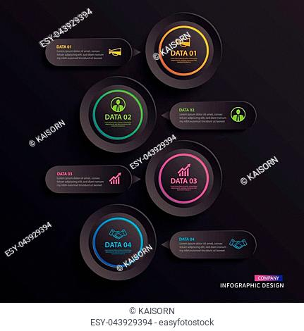 Infographics circle paper with 4 data vertical template in dark background.Vector illustration abstract. Can be used for workflow layout, business step